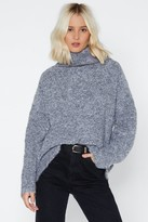 Womens Oversize Up the Competition Turtleneck Jumper - grey - One Size