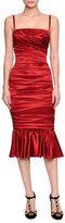 Dolce & Gabbana Ruched Satin Cocktail Dress, Red