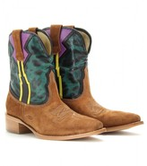 Etro WEST SUEDE AND LEATHER COWBOY BOOTS