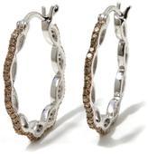 """0.60ctw Colored Diamond """"Infinity"""" Sterling Silver Hoop Earrings"""