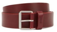 HUGO BOSS Leather Belt With Roller Buckle In Brushed Silver - Dark Red