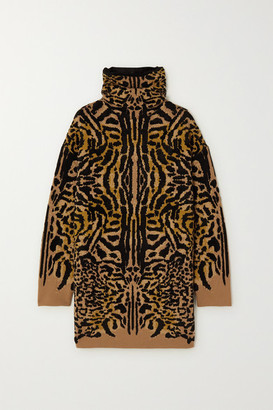 Givenchy Leopard-jacquard Wool-blend Turtleneck Sweater - Leopard print