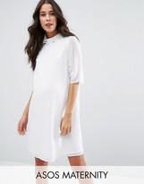 Asos Short Sleeve Embellished Trim High Neck Dress