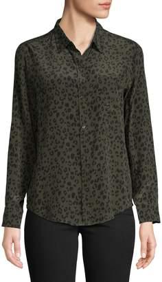 Rails Leopard-Print Silk Button-Down Shirt