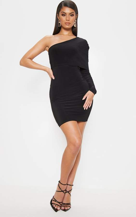 PrettyLittleThing Black Slinky One Shoulder Cape Detail Bodycon Dress