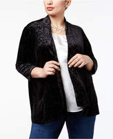 NY Collection Plus Size Patterned Velvet Cardigan