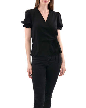 Anna Cai Puffed-Sleeve Woven Top With Scalloped Hem