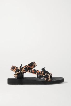 Arizona Love Trekky Leopard-print Gauze-trimmed Canvas Platform Sandals