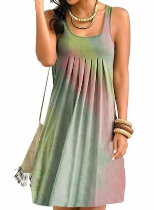 AlvaQ Womens Casual Tie Dye Sleeveless Ruched Summer Mini Dress Beach Dress Sundress Gray