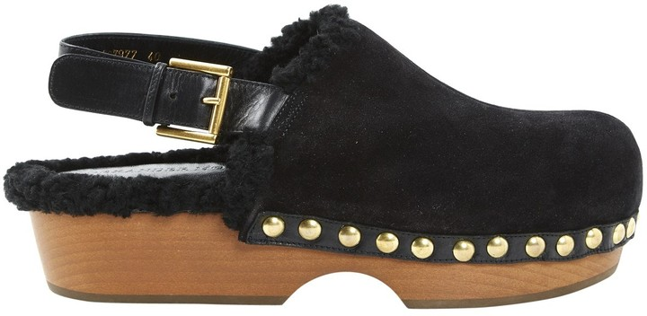 Alexander McQueen Black Leather Mules & Clogs