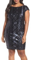 Adrianna Papell Plus Size Women's Cable Sequin Sheath Dress