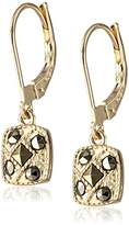 "Judith Jack Golden Class"" Sterling Silver and Gold-Tone Marcasite Square Drop Earrings"