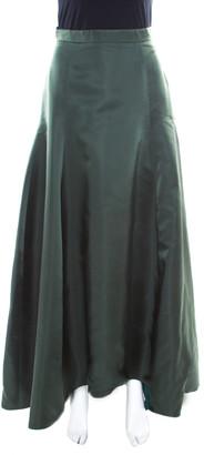 Christian Dior Bottle Green Silk Satin Flared High Waist Maxi Skirt S