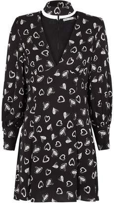 Alice + Olivia Ella Black Heart-print Satin Mini Dress