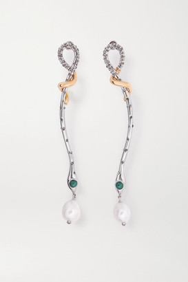 Chloé Callie Silver And Gold-tone, Pearl, Crystal And Enamel Earrings