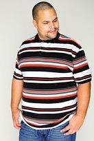 Yours Clothing Black, White & Orange Striped Short Sleeve Polo Shirt