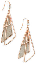 GUESS Rose Gold-Tone Multi-Triangle Faux Leather Drop Earrings