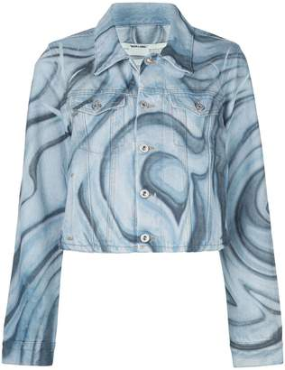 Off-White psychedelic-print cropped denim jacket