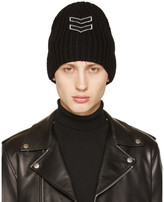 Neil Barrett Black Chevron Patch Beanie