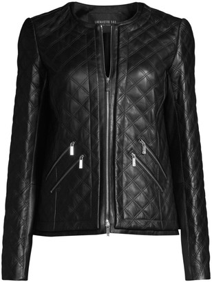 Lafayette 148 New York Tanner Leather Quilted Jacket