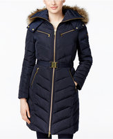 MICHAEL Michael Kors Faux-Fur-Trim Hooded Chevron Belted Down Coat