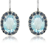 Forzieri 0.58 ct Diamond Pave 18K Gold Earrings w/Blue Topaz
