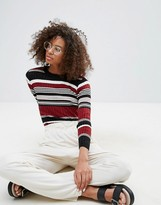 Monki Ribbed Fitted Stripe Jumper
