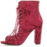 Charlotte Russe Velvet Lace-Up Peep Toe Booties