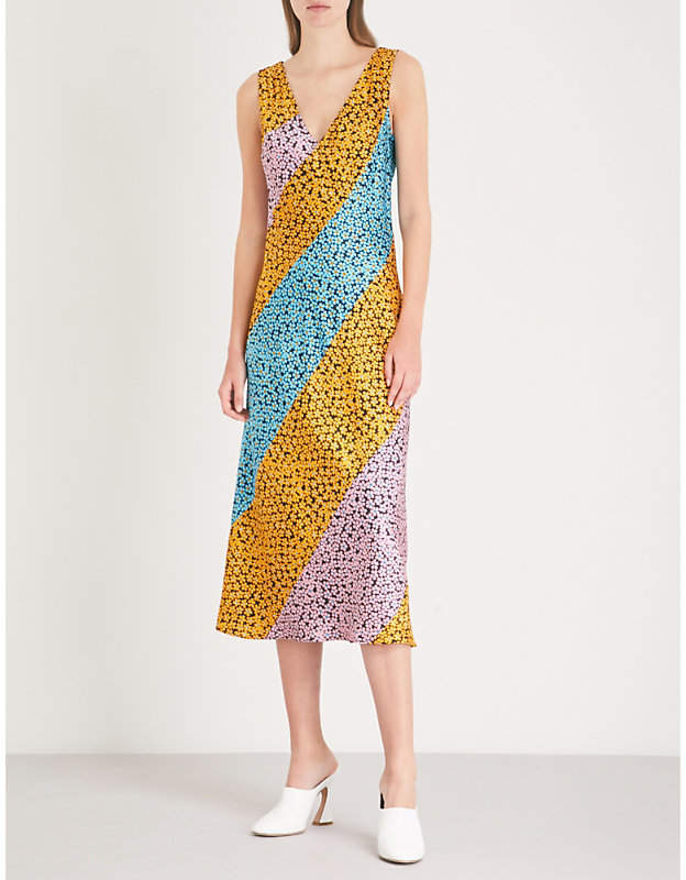Diane von Furstenberg Marigold-print striped silk-satin mini dress