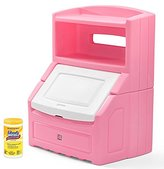 Step2 Lift & Hide Bookcase Storage Chest, Best Kids Toy Box, Pink with Disinfecting Cleaning Wipes, 35 Count