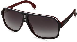 Carrera Men's Ca1001s Aviator Sunglasses MATTE BLACK RED/DARK GRAY GRADIET 62 mm
