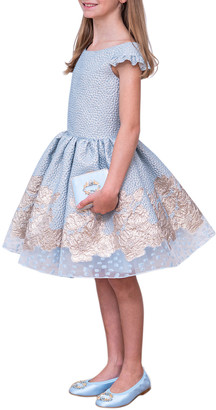 David Charles Girl's Embroidered Jacquard Off-the-Shoulder Party Dress, Size 10-16