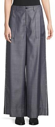Ganni Merkel Silk Wool Wide Leg Trousers