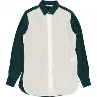 Celine Green Silk Tops