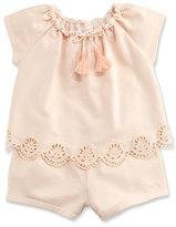 Chloé Eyelet Popover Jersey Romper, Pink, Size 12-18 Months