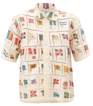 Bode Tobacco Flag-print Patchwork Silk-blend Shirt - Multi