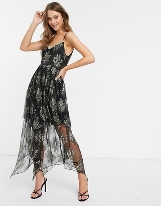 Forever U metallic lace maxi dress with sheer overlay in black and gold