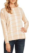 Vince Camuto Tie Dye Boatneck Long Sleeve Cotton Sweater