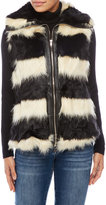 sioni Striped Faux Fur Vest