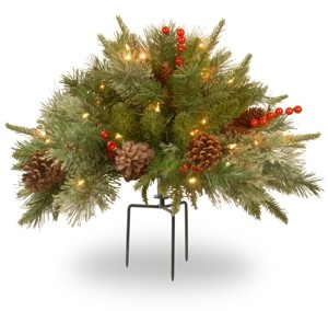"National Tree Company 18"" Feel Real(R) Colonial Urn Filler with Cones, Red Berries & Tripod Stake & 35 Warm White Battery Operated Led Lights w/Timer"
