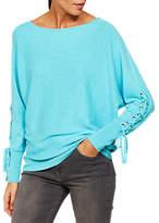 Mint Velvet Lace Up Sleeve Batwing Jumper, Light Blue
