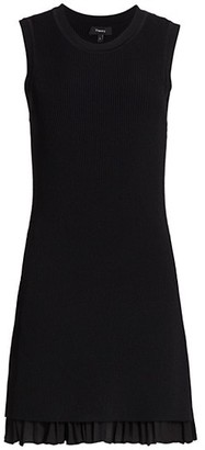 Theory Sleevless Ruffle-Hem Sweater Dress