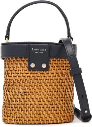 Kate Spade Mini Rose Leather-trimmed Rattan Shoulder Bag