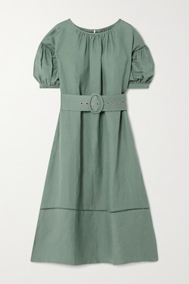 Cult Gaia Aiko Belted Lattice-trimmed Linen-blend Midi Dress - Army green