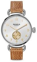 Shinola The Canfield Stainless Steel & Leather Strap Watch