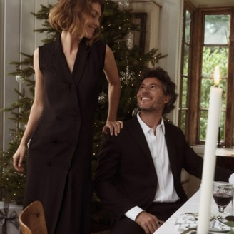 The White Company Tuxedo Dress, Black, 12