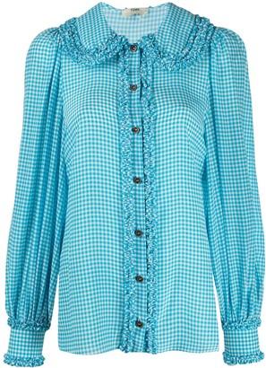 Fendi Ruffle-Detail Gingham Shirt