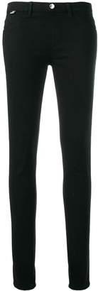 Love Moschino rhinestone heart patch skinny jeans