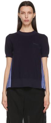 Sacai Navy and Blue Stripe Pleated Back Short Sleeve Sweater