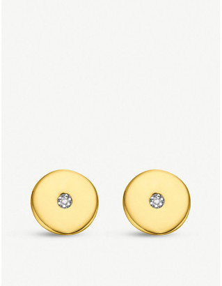 Monica Vinader Linear Solo 18ct yellow-gold vermeil and diamond stud earrings